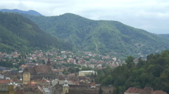 Rooftops of the medieval town of Brasov Stock Footage