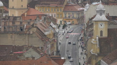 Traffic on Muresenilor street seen from above, Brasov Stock Footage