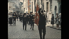 Vintage 16mm film, 1960, France, Lorient Festival, parade in town #2 Stock Footage
