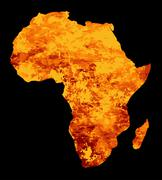 Stock Illustration of Silhouette Of Africa On Fire