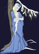 The Snow Queen near a Christmas tree. EPS10 vector illustration - stock illustration