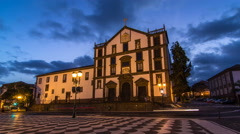 Funchal town hall and square with a fountain timelapse hyperlapse. Madeira Stock Footage