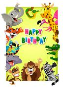 Happy Birthday card with Jungle animals - stock illustration