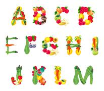 Alphabet composed by fruits and vegetables, first part - stock illustration