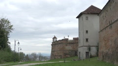 Alley near the Citadel of The Guard, on a cloudy day in Brasov Stock Footage