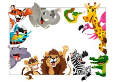 Funny group of Jungle animals Piirros