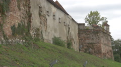 Old wall at Citadel of The Guard, Brasov Stock Footage