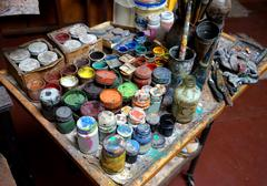 Artistic paints and paintbrushes - stock photo