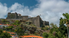 View of old castle Fortaleza de Sao Tiago timelapse in Funchal, Madeira Stock Footage