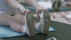 Children in dance school. Girl feet. - stock footage