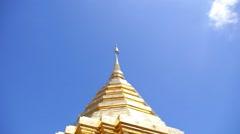 Buddhist Golden Pagoda Doi Suthep Chiangmai Thailand Stock Footage