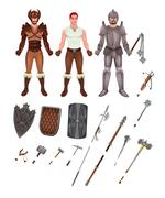 Medieval avatar with armors and weapons - stock illustration