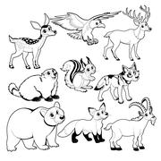 Wood and mountain animals in Black and white - stock illustration