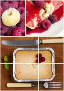 Stock Photo of fresh colorful delicious homemade dessert cake selection composition collage