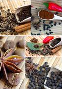 Collage of different spices - stock photo