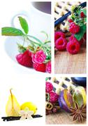 Fresh colorful delicious homemade dessert cake selection composition collage Stock Photos