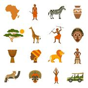 Africa Icons Set - stock illustration