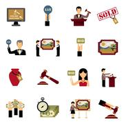 Auction Icons Set - stock illustration