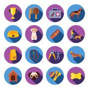 Stock Illustration of Dogs  round flat icons set