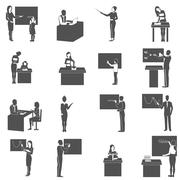 Teacher At Blackboard In Class Icons  Set Stock Illustration