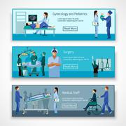 Stock Illustration of Medical professionals at work banners set