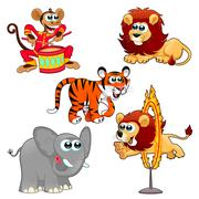 Funny circus animals - stock illustration