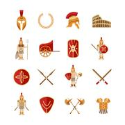 Gladiator Icons Set - stock illustration