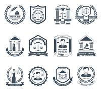 Lawyer Black White Logo Set Stock Illustration