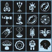 Space Icons Monochrome - stock illustration