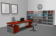 Stock Illustration of Realistic Office Interior