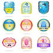 Baby shower emblems - stock illustration