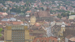 Council Square and Muresenilor street seen from above, Brasov Stock Footage