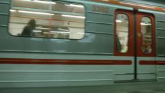 Metro Train Arrives Platform - 4k Stock Footage