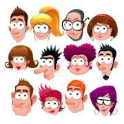Funny faces - stock illustration