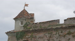 Stone tower and old brick wall at Citadel of The Guard, Brasov Stock Footage