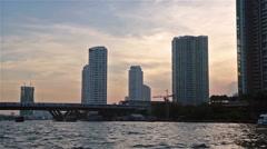 Bangkok Chao Praya river at sunset Stock Footage