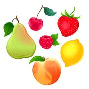 Set of different fruits Stock Illustration