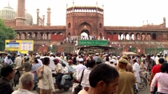 Start of Ramadan Prayers at Jama Masjid Timelapse Stock Footage