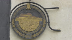 Coat of arms at the entrance of Citadel of The Guard, Brasov Stock Footage