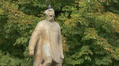 Andrei Mureseanu statue in Brasov Stock Footage