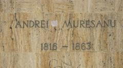Inscription on Andrei Mureseanu statue pedestal in Brasov Stock Footage