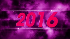 Stock Video Footage of graphical fireworks explosion to 2016 PURPLE 4K