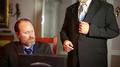 Bribing bribe official inside suit business Stock Footage