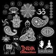 India Design Elements Chalkboard  Set - stock illustration