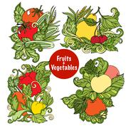 Ornamental fruits and vegetables compositions set Stock Illustration