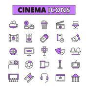 Cinema symbols outlined icons set Stock Illustration