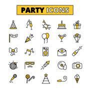 Stock Illustration of Party pictograms oitlined icons set