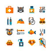 Veterinary Icons Set With Pets - stock illustration