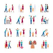 Family Problems Icons Stock Illustration