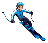 Young skier - stock illustration